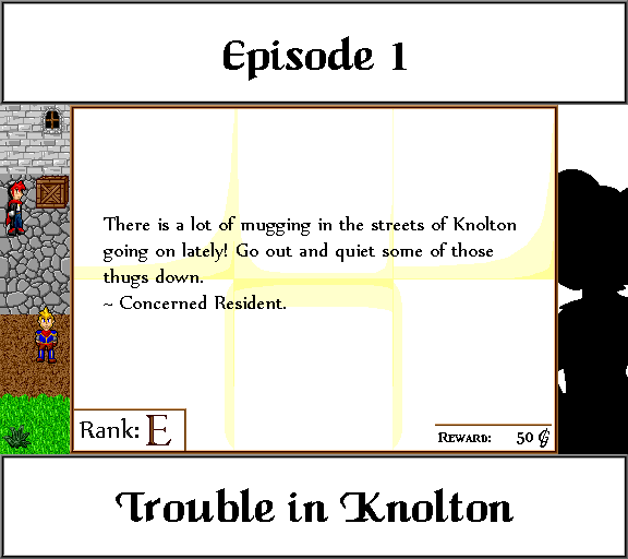 Episode 1: Trouble in Knolton. There is a lot of mugging in the streets of Knolton going on lately! Go out and quiet some of those thugs down. Concerned Resident.
