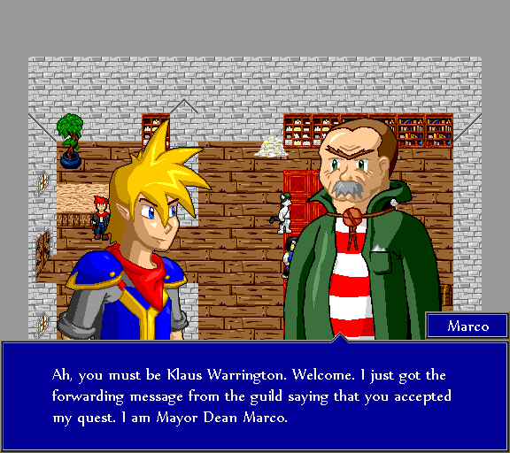 Ah, you must be Klaus Warrington. I just got the forwarding message from the guild saying that you accepted my quest. I am mayor Dean Marco