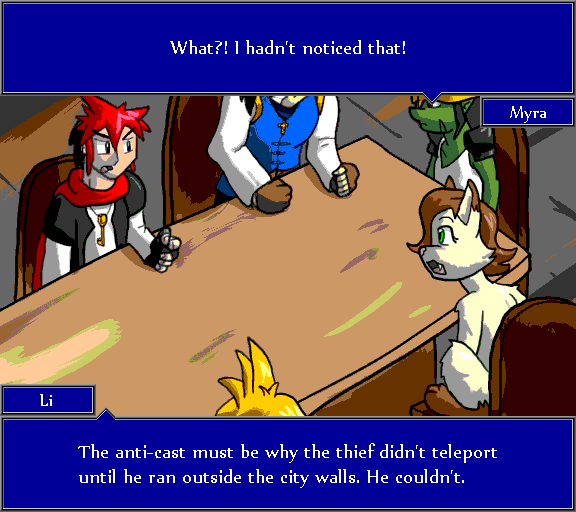 What?! I hadn't noticed that! The anti-cast must be why the thief didn't teleport until he ran outside the city walls. He couldn't.