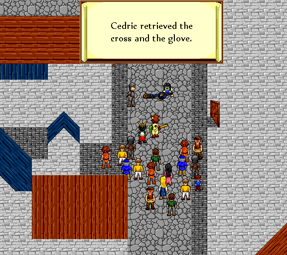 Cedric retrieved the cross and the glove.