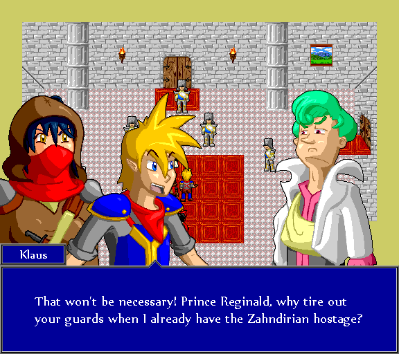 That won't be necessary! Prince Reginald, why tire out your guards when I already have the Zahndirian hostage?