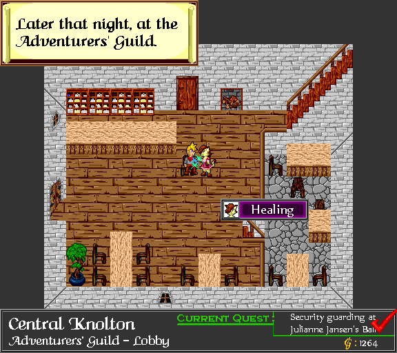 Later that night, at the Adventurers' Guild