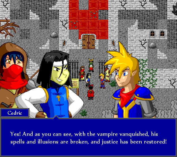 Yes! And as you can see, with the vampire vanquished, his spell and illusions are broken, and justice has been restored!